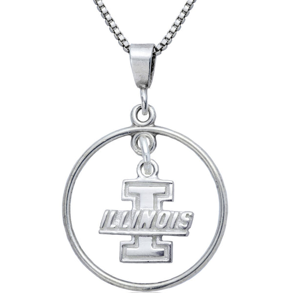 Collegiate University of Illinois Logo Open Drop Necklace