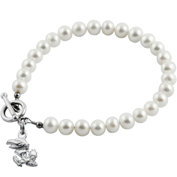 Collegiate University of Kansas White Freshwater Pearl Bracelet