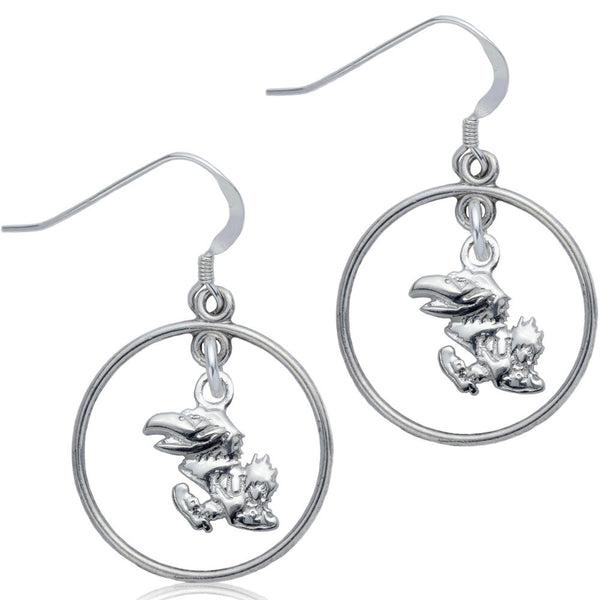Collegiate University of Kansas Jayhawks Open Drop Earrings