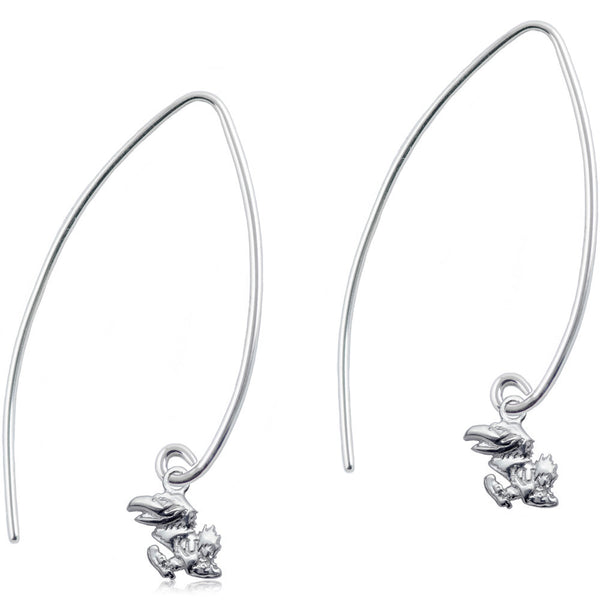 Collegiate University of Kansas Long Fishhook Earrings