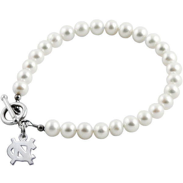 Collegiate University of North Carolina White Freshwater Pearl Bracelet