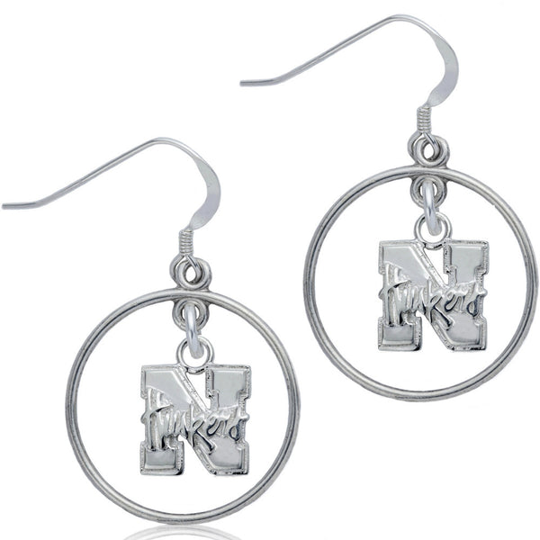 Collegiate University of Nebraska Logo Open Drop Earrings