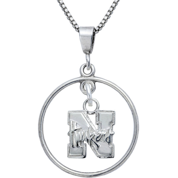 Collegiate University of Nebraska Open Drop Necklace