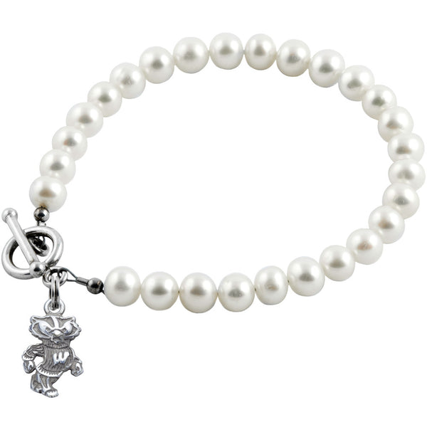 Collegiate University of Wisconsin White Freshwater Pearl Bracelet