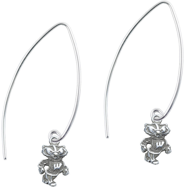 Collegiate University of Wisconsin Badgers Long Fishhook Earrings