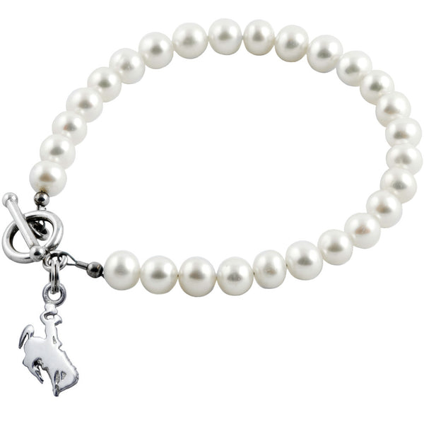 Collegiate University of Wyoming White Freshwater Pearl Bracelet