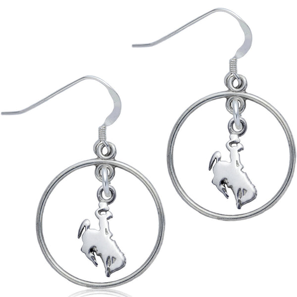 Collegiate University of Wyoming Cowboy Joe Open Drop Earrings