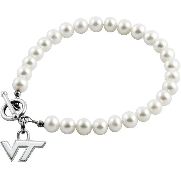 Collegiate Virginia Tech University White Freshwater Pearl Bracelet