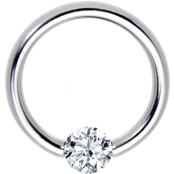 16 Gauge 7/16 Solid 14k White Gold 3mm Clear Cubic Zirconia Tension Captive Ring
