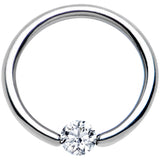 14 Gauge 3/8 Solid 14k White Gold 4mm Clear Cubic Zirconia Tension Captive Ring