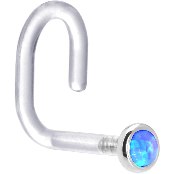 "18 Gauge 1/4"" White Gold 2mm Blue Synthetic Opal Bioplast Nose Ring"