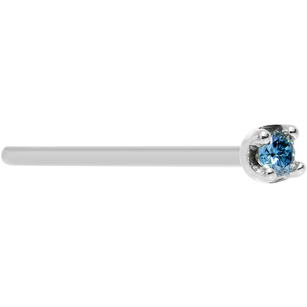 Body Candy Solid 18k Yellow Gold 1.5mm Genuine Topaz Straight Fishtail Nose Stud Ring 20 Gauge 17mm