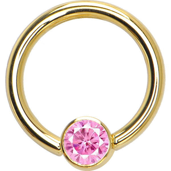 Solid 14KT Yellow Gold Pink 4mm Bezel-Set Cubic Zirconia Captive Ring
