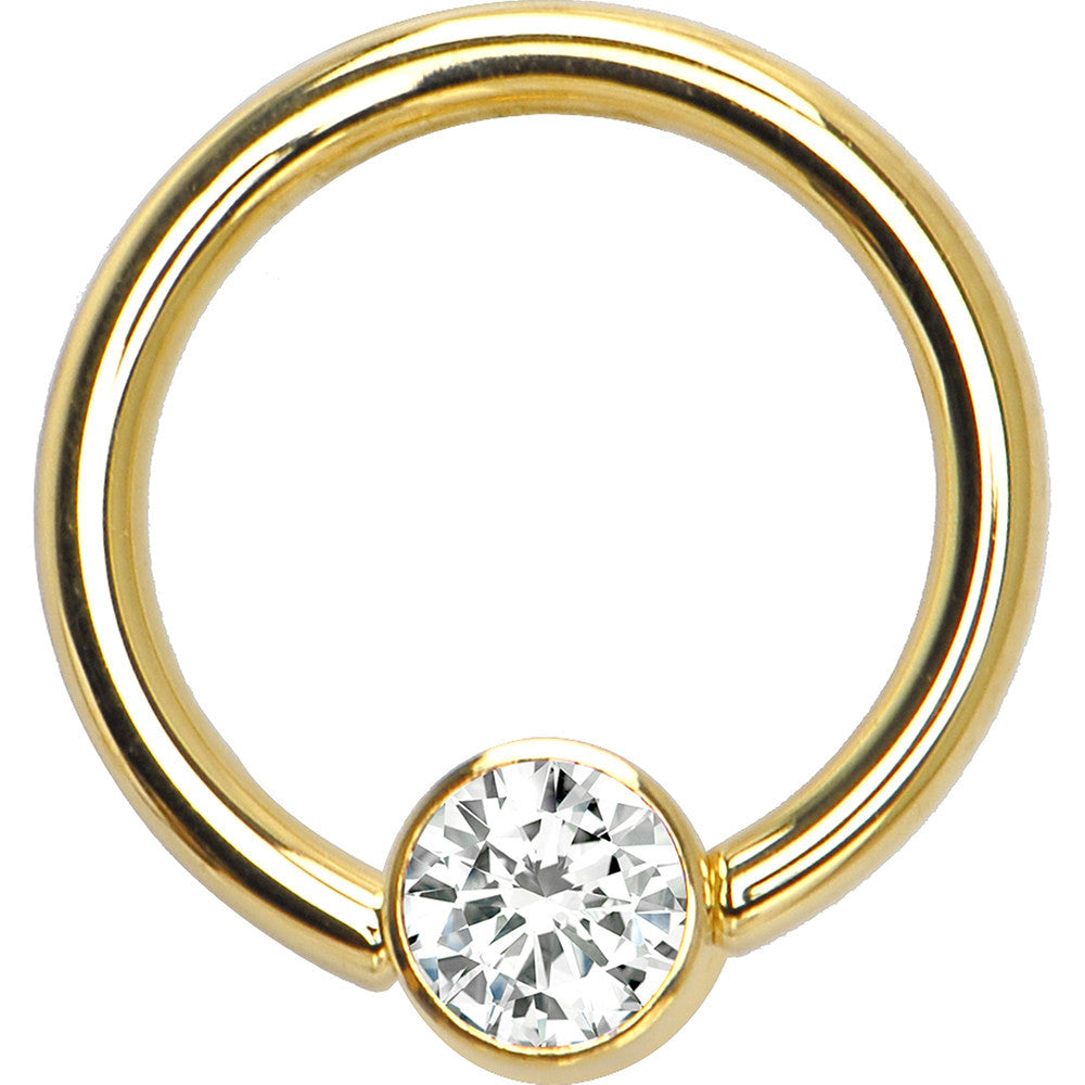 Solid 14kt Yellow Gold Clear 4mm Bezelset Cubic Zirconia Captive Ring