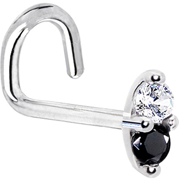 14kt White Gold Black 1.5mm CZ Marquise Nose Ring