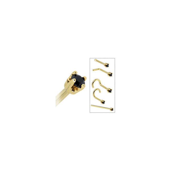 Solid 14KT Yellow Gold 2mm Black Cubic Zirconia Nose Ring