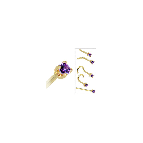 Solid 14KT Yellow Gold 2mm Amethyst Cubic Zirconia Nose Ring