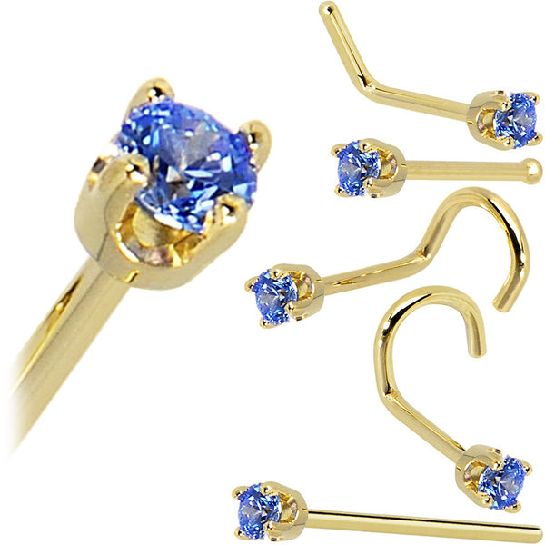 Solid 14KT Yellow Gold 2mm Arctic Blue Cubic Zirconia Nose Ring