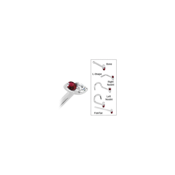 14kt White Gold Red 1.5mm CZ Marquise Nose Ring