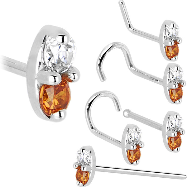 14kt White Gold Orange 1.5mm CZ Marquise Nose Ring