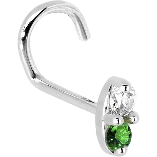 14kt White Gold Green 1.5mm CZ Marquise Nose Ring