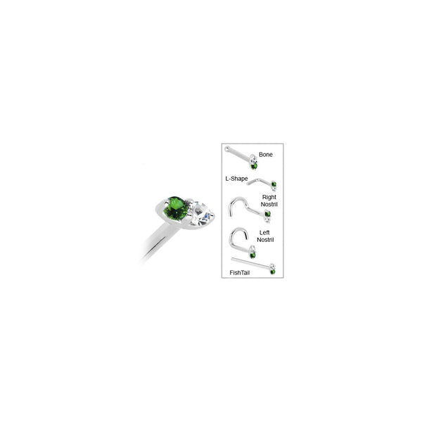 14kt White Gold 1.5mm Genuine Emerald Diamond Marquise Nose Ring