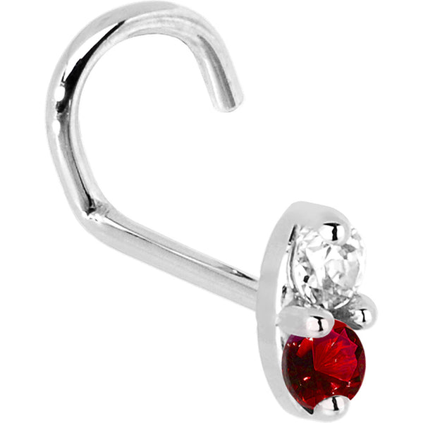 14kt White Gold 1.5mm Genuine Ruby Diamond Marquise Nose Ring