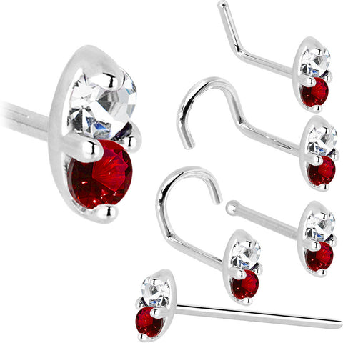 14K White Gold 1.5mm Genuine Ruby Diamond Marquise Nose Ring