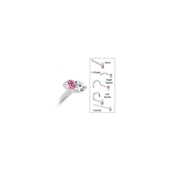 14kt White Gold 1.5mm Genuine Pink Sapphire Diamond Marquise Nose Ring