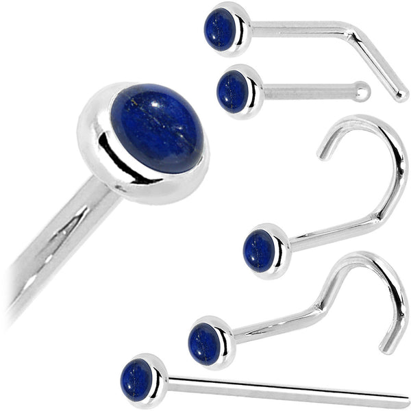 Solid 14KT White Gold 2mm Lapis Lazuli Straight Nose Ring