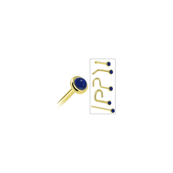 Body Candy Solid 14k Yellow Gold 2mm Lapis Lazuli L Shaped Nose Stud Ring 20 Gauge 1//4