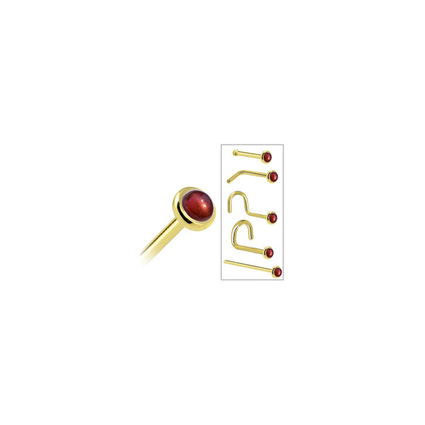 Solid 14KT Yellow Gold 2mm Red Garnet Nose Ring