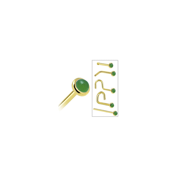Solid 14kt Yellow Gold 2mm Jade Nose Ring Bodycandy