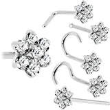 Solid 14KT White Gold Clear Cubic Zirconia Flower Nose Ring