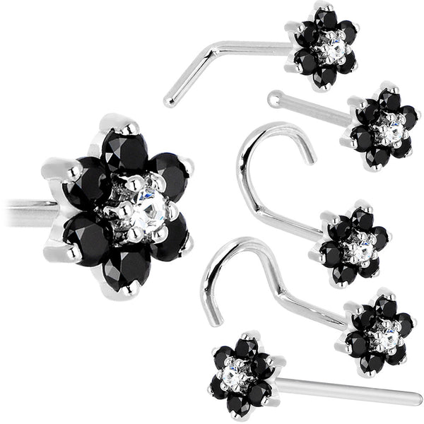 Solid 14KT White Gold Black and Clear Cubic Zirconia Flower Nose Ring