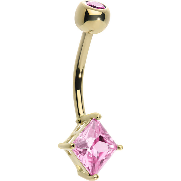 14KT Yellow Gold Pink Princess 6mm Cubic Zirconia Belly Ring