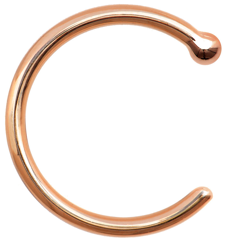 18 Gauge Solid 14KT Rose Gold Nose Hoop 516 BodyCandy