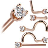14KT Rose Gold 2mm Cubic Zirconia Nose Ring