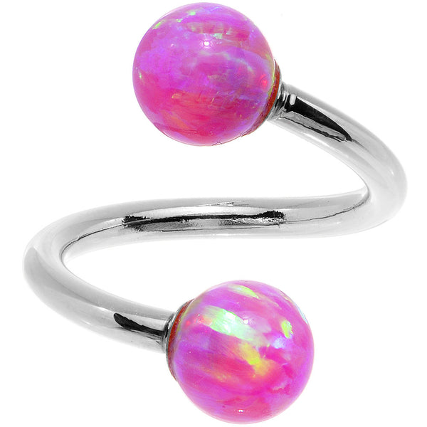 14kt White Gold Fuchsia Synthetic Opal Spiral Twister 14 Gauge 7/16""