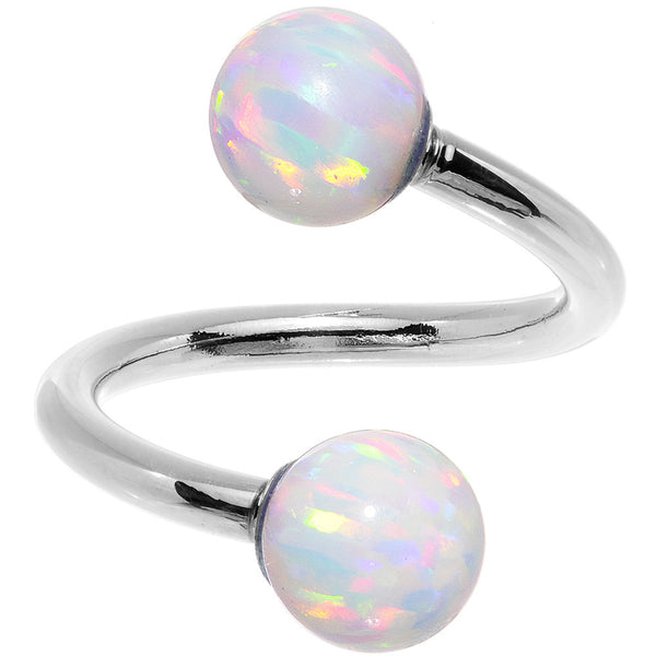 14k White Gold White Synthetic Opal Spiral Twister 14 Gauge 7/16""