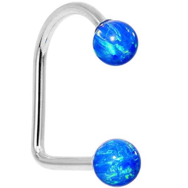 14kt White Gold Blue 5mm Synthetic Opal Lippy Loop 14 Gauge 3/8
