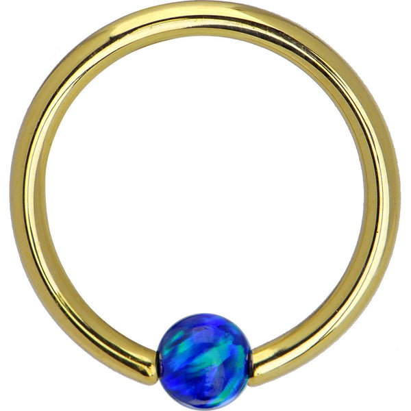 Solid 14KT Yellow Gold Dark Blue Synthetic Opal Captive Ring - 14 Gauge 3/8""