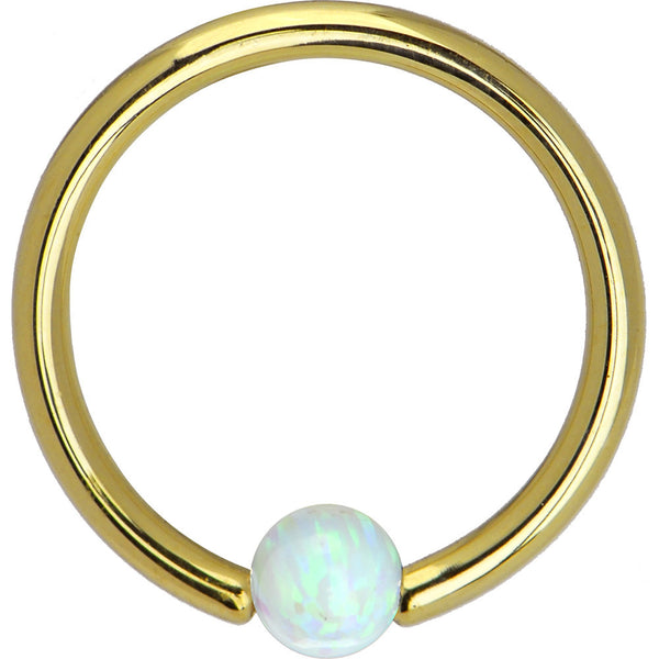Solid 14KT Yellow Gold White Synthetic Opal Captive Ring - 14 Gauge 3/8""