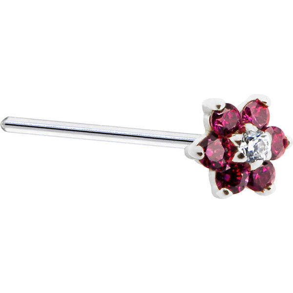 Solid 14KT White Gold Red and Clear Cubic Zirconia Flower Nose Ring