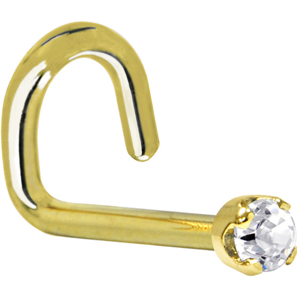 Solid 14KT Yellow Gold (April) 2mm Genuine Diamond Nose Ring