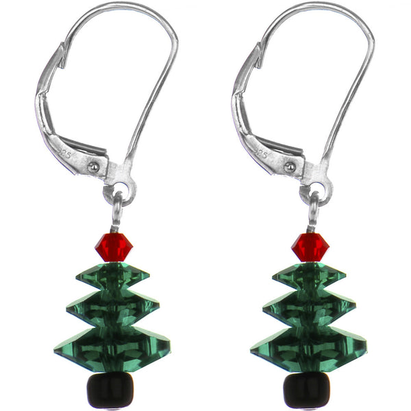 Christmas Tree Earrings Created with Swarovski Crystals