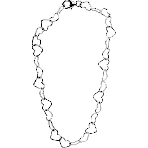 .925 Sterling Silver Hollow Heart Link Bracelet
