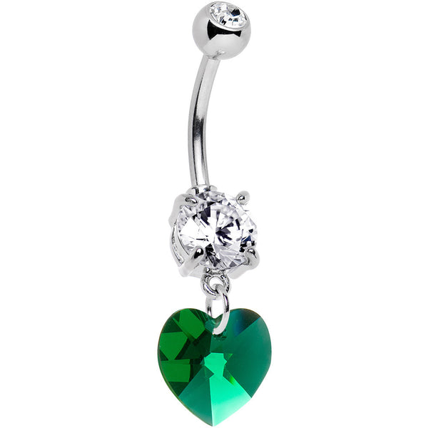 Austrian Crystal Heart May Birthstone Belly Ring