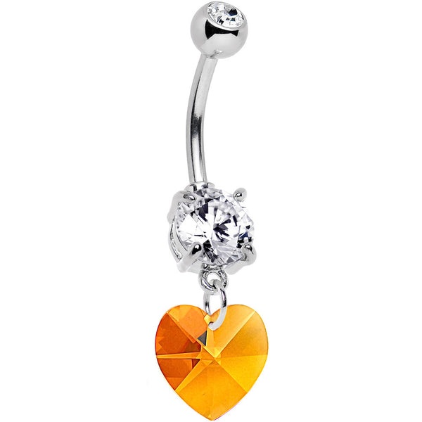 Austrian Crystal Heart November Birthstone Belly Ring