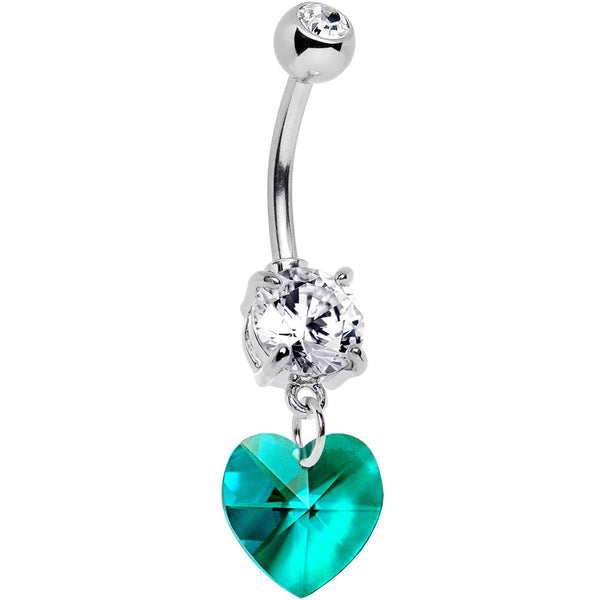 Austrian Crystal Heart December Birthstone Belly Ring